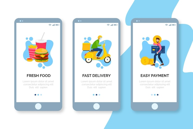 Onboarding screens food delivery on mobile phone