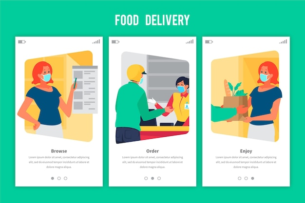 Onboarding screens food delivery order and receive