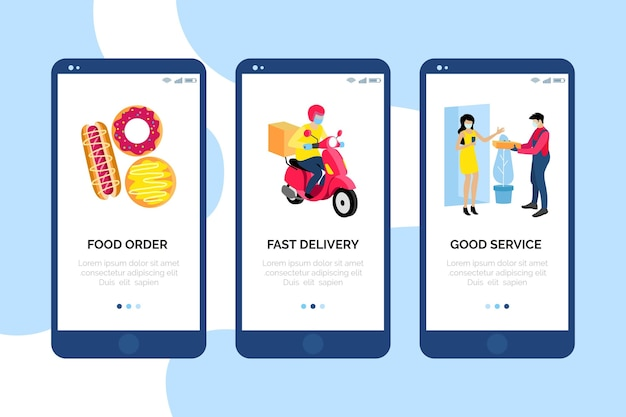 Onboarding screens food delivery stay at home
