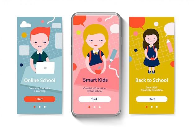 モバイルアプリテンプレートの概念のオンボーディング画面。学校に戻る、スマートキッズ、オンライン教育。ベクトルイラスト