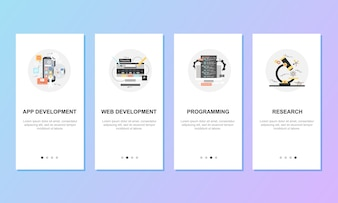 Onboarding screens for mobile app templates concept. Vector illustration.