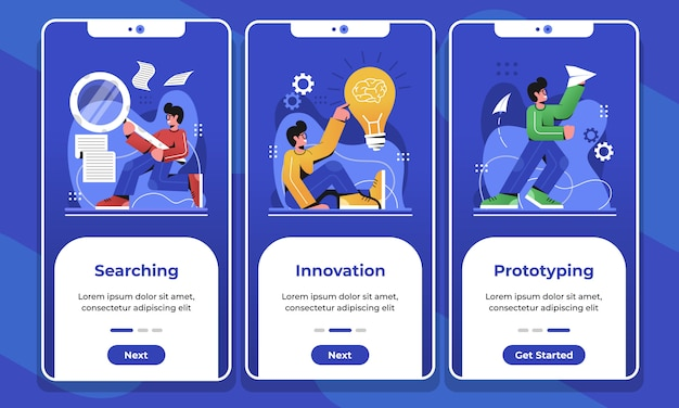 Onboarding screens mobile app prototyping