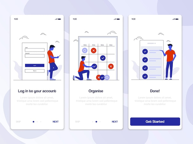Экраны адаптации иллюстрация комплекта пользовательского интерфейса