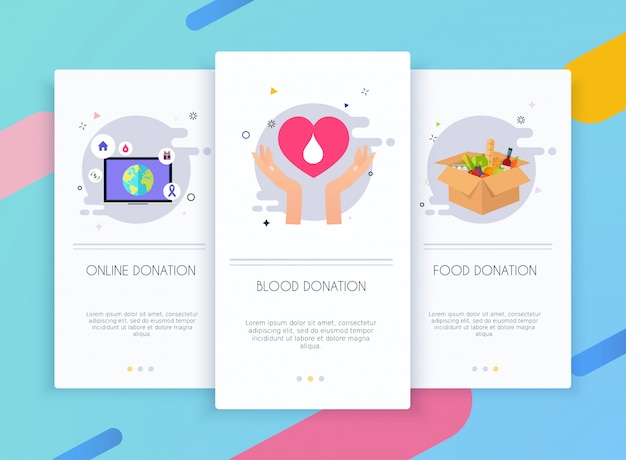 Onboarding screens user interface kit for mobile app templates concept of donation.