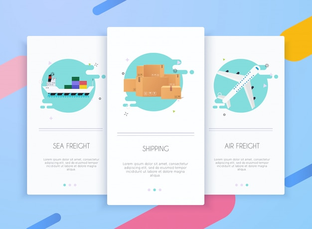 Onboarding screens user interface kit for mobile app templates concept of logistics and delivery.