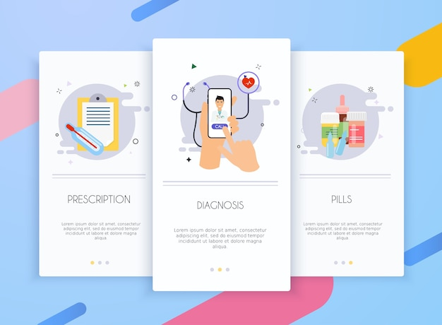 Onboarding screens user interface kit for mobile app templates concept of medicine. Premium Vector