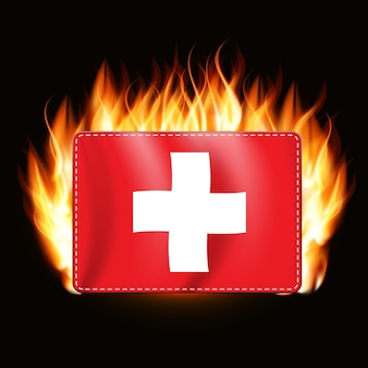 Oncept スイス国旗に火が付いている国章