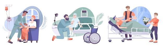 Oncologia 3 composizioni piatte con trattamento chemioterapico post-operatorio assistenza infermieristica famiglia di amici in visita illustrazione di malati di cancro