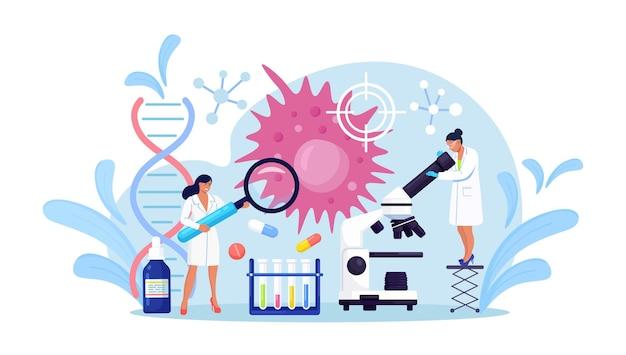 종양학 개념입니다. 작은 사람들이 암 질병을 연구합니다. 방사선 진단 및 질병 치료. 화학 요법, 생검, 종양 제거