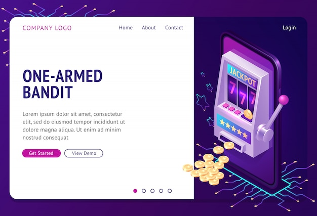 One-armed bandit isometric landing page