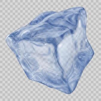 Один большой реалистичный прозрачный кубик льда синего цвета на прозрачном фоне. прозрачность только в векторном файле