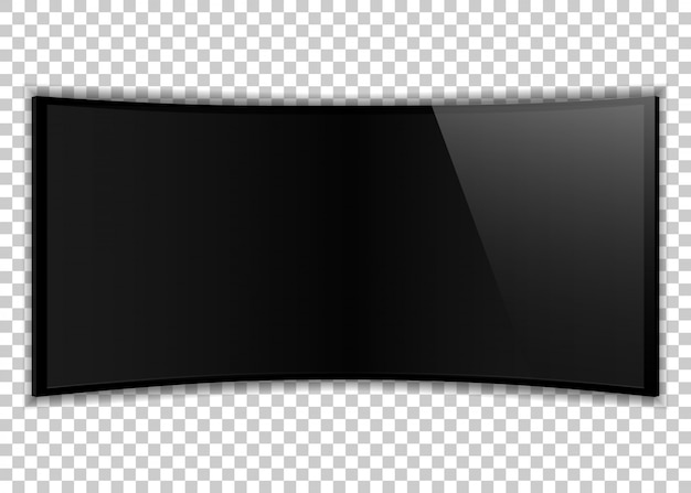 One black realistic tv screen. large computer monitor display mockup. blank television template on transparent background.