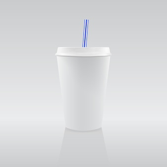 One blank white paper cup with blue straw