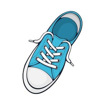 Один синий текстильный кроссовок с резиновым мыском и свободной шнуровкой векторная иллюстрация