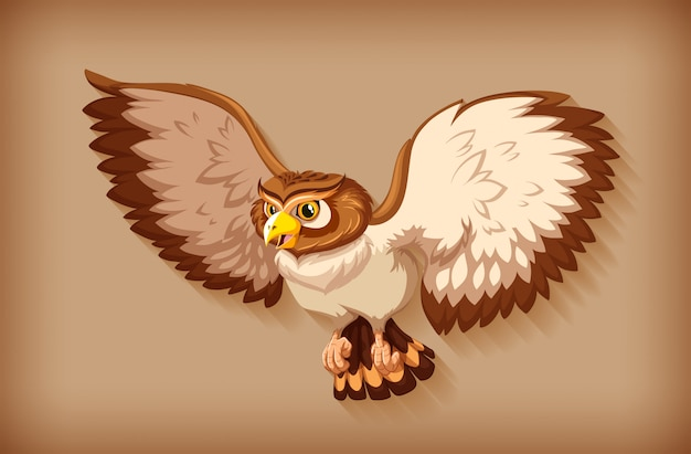 One brown owl flying on brown background