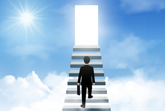One businessman walk up the stairs to the lighting door of success on sky