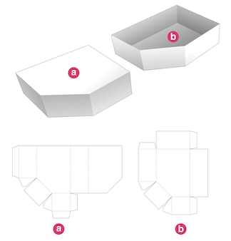 One chamfered corner tray and cover die cut template