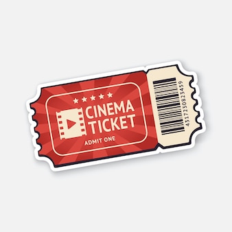 One cinema ticket with barcode paper retro coupon for movie entry vector illustration