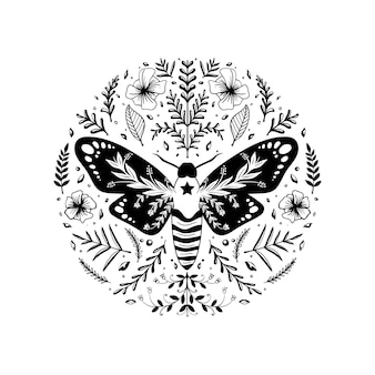 One color folk art insect illustration Premium Vector