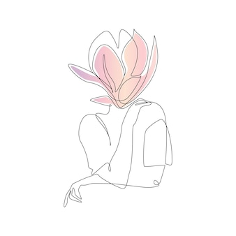 One continuous line drawing of abstract woman body with flower modern elegance female portrait with ...