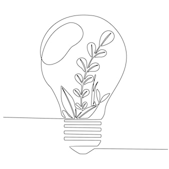 One continuous line drawing of clean lightbulb with green leaf organic plant