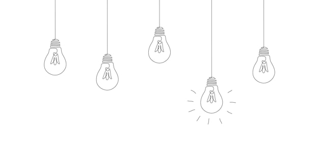 One continuous line drawing of hanging light bulbs with one glowing concept of creative idea in simp...