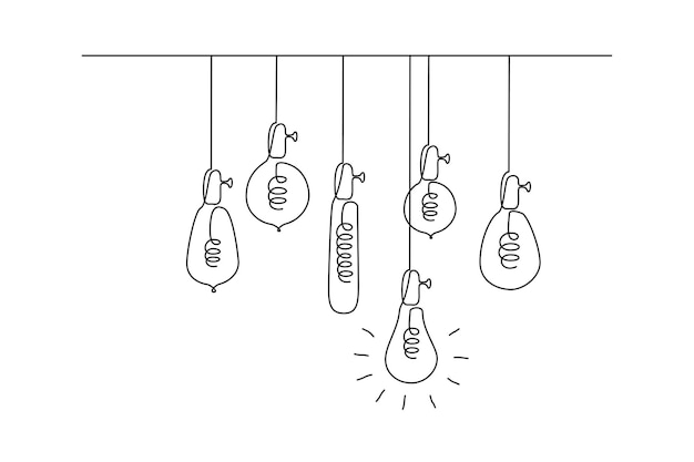 One continuous line drawing of hanging loft light bulbs with one glowing concept of creative idea in...