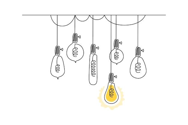 One continuous line drawing of hanging loft light bulbs with one shining concept of creative idea in...