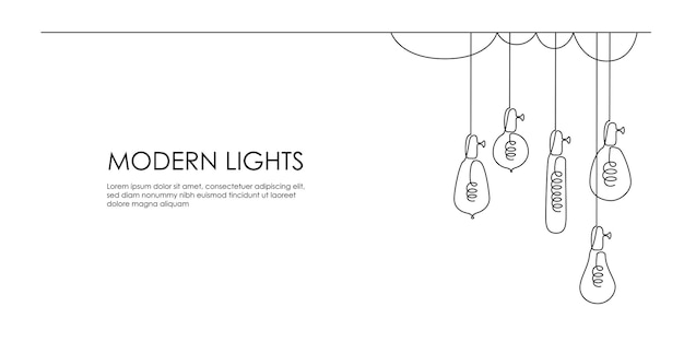 One continuous line drawing of loft lightbulbs horizontal vector illustration of hanging modern pend...