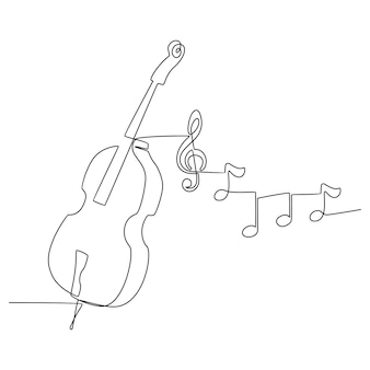 추상적 인 모양으로 바이올린 악기 라인 아트 드로잉의 연속 선 그리기