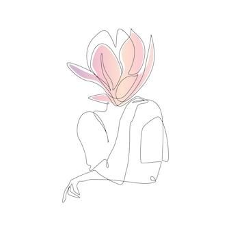Один непрерывный рисунок линии абстрактного женского тела с цветком, современный элегантный женский портрет с ...