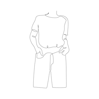 Один непрерывный рисунок линии абстрактного женского силуэта в футболке и джинсах, современная женская фигура по ...