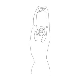 手upvector女性図の肖像画と抽象的な女性のシルエットの1つの連続線画