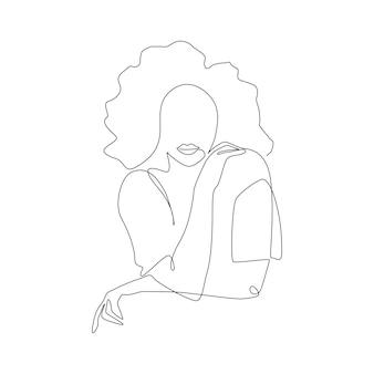 Один непрерывный рисунок линии абстрактной женщины с вьющимися волосами в футболке современного женского портрета в ли ...