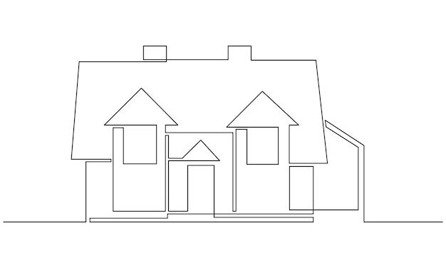 家の建築の村の現代的な概念で家族2階建ての家の1つの連続した線画...