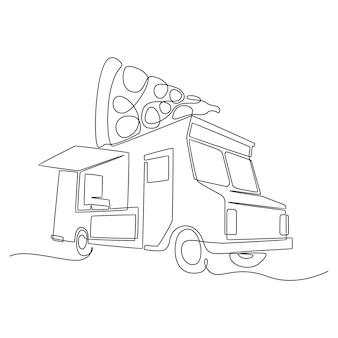 Один непрерывный рисунок фургона с едой для фестиваля аннотация