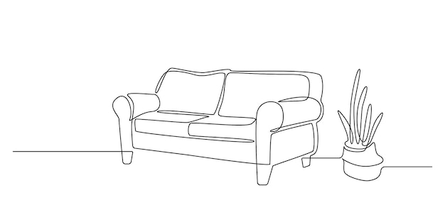 소파와 선인장 식물이 있는 인테리어의 연속 선 그리기. 간단한 낙서 스타일의 세련된 아파트를 위한 현대적인 가정용 가구. 편집 가능한 스트로크 벡터 일러스트 레이 션