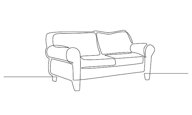 Один непрерывный рисунок линии интерьера с диваном. современная домашняя мебель для стильной квартиры в простом стиле каракули. редактируемый штрих векторные иллюстрации