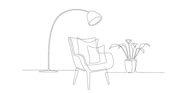 現代のアームチェアと植物とランプの1つの連続した線画。シンプルな直線的なスタイルのスタイリッシュなスカンジナビアの家具。編集可能なストロークベクトル図