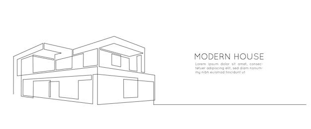 Один непрерывный рисунок линии современного дома с минималистской архитектурой. модная двухэтажная вилла в линейном стиле каракули, изолированные на белом фоне. векторная иллюстрация.