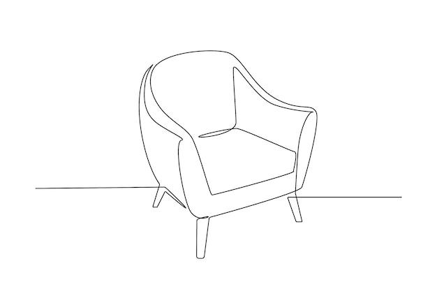 レトロなアームチェアの1つの連続した線画。シンプルな直線的なスタイルのスタイリッシュなスカンジナビアの家具。編集可能なストロークベクトル図