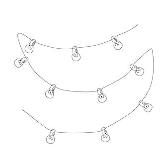 電球付きワイヤーの1本の連続線画。シンプルな線形スタイルのスタイリッシュなスカンジナビアのライト。編集可能なストロークベクトル図