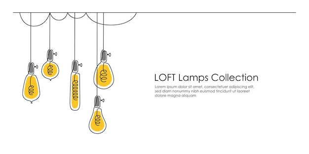 One continuous line drawing of shining lightbulbs hanging modern pendant electric loft lamps with bu...