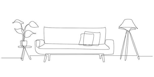 One continuous line drawing of sofa with lamp and potted deciduous plant. home modern furniture of couch with two pillows in simple linear style. editable stroke vector illustration.