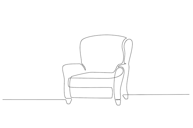 One continuous line drawing of vintage armchair. modern scandinavian furniture in simple linear style. editable stroke vector illustration