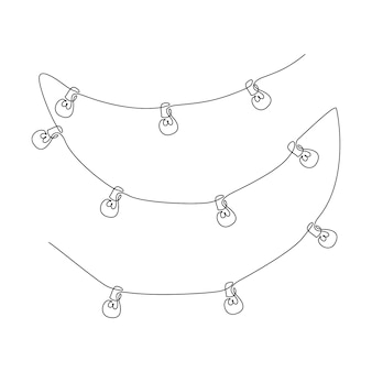 One continuous line drawing of wire with light bulbs. stylish scandinavian lights in simple linear style. editable stroke vector illustration