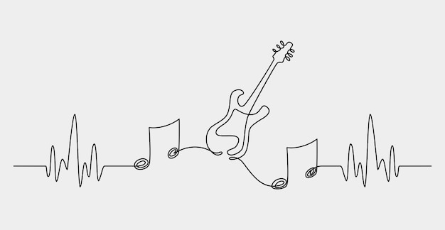 1本の連続線画抽象的な音符の背景ベクトル図