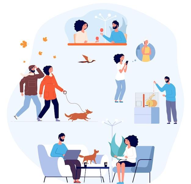 Одна семейная жизнь. распорядок дня, уютный домашний образ жизни. период самоизоляции, мужчина женщина живет вместе. люди пьют кофе, гуляют с собакой, звонят родителям и общаются векторные иллюстрации