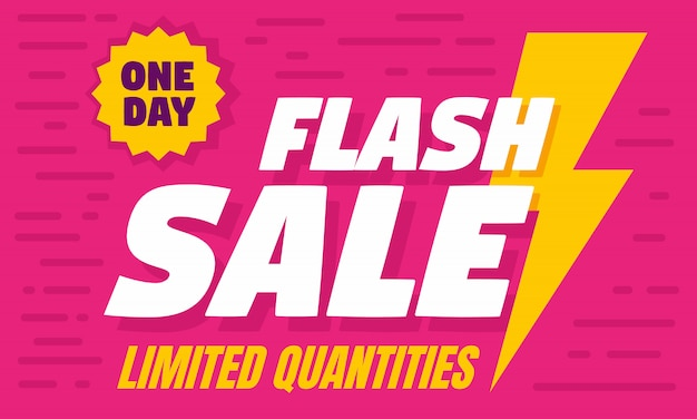 One day flash sale concept banner, flat style