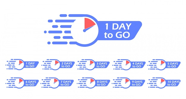 One day to go label, clock. promotion icon. the number of days left.